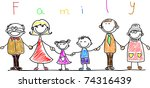 happy family holding hands and... | Shutterstock .eps vector #74316439