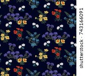seamless floral pattern in... | Shutterstock .eps vector #743166091