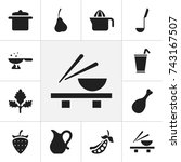 set of 12 editable meal icons.... | Shutterstock .eps vector #743167507