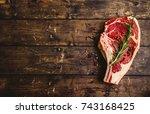 raw marbled meat steak  pepper  ... | Shutterstock . vector #743168425