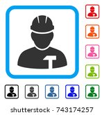 builder person icon. flat grey...