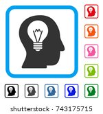 intellect bulb icon. flat gray... | Shutterstock .eps vector #743175715