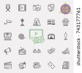 cinema  movie line icons set ... | Shutterstock .eps vector #743177761