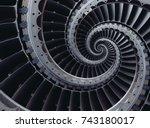 blue gray industrial air craft... | Shutterstock . vector #743180017