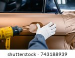 car wrapping specialist putting ... | Shutterstock . vector #743188939
