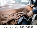 car wrapping specialist putting ... | Shutterstock . vector #743188951