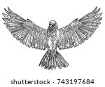 a bird with spread wings.... | Shutterstock .eps vector #743197684