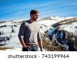 modern stylish guy at mountain... | Shutterstock . vector #743199964