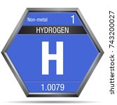 hydrogen symbol in the form of... | Shutterstock .eps vector #743200027