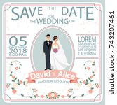 save the date. wedding... | Shutterstock .eps vector #743207461