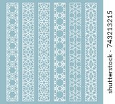 vector set of line borders with ... | Shutterstock .eps vector #743213215