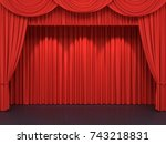 red stage curtains. luxury red... | Shutterstock . vector #743218831