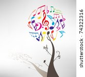 abstract colorful music tree  ... | Shutterstock .eps vector #74322316