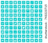 100 love icons set in grunge... | Shutterstock .eps vector #743223715