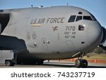 Small photo of Moody, Georgia, USA - October 27, 2017: A U.S. Air Force C-17 Globemaster III cargo plane at Moody Air Force Base. This C-17 belongs to the 436th Airlift Wing from Dover Air Force Base