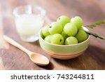 indian gooseberry fruit and... | Shutterstock . vector #743244811