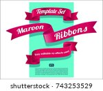 ribbons set collection. pink ... | Shutterstock .eps vector #743253529