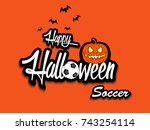 banner happy halloween and... | Shutterstock .eps vector #743254114