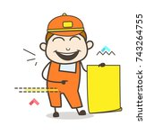 joyful worker with blank paper... | Shutterstock .eps vector #743264755