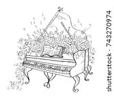 grand piano. vector... | Shutterstock .eps vector #743270974