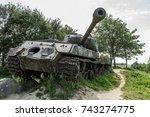 broken soviet tank | Shutterstock . vector #743274775