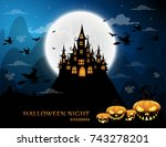 haunted house and full moon... | Shutterstock .eps vector #743278201