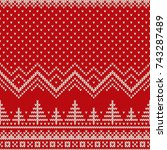 winter holiday seamless knitted ... | Shutterstock .eps vector #743287489