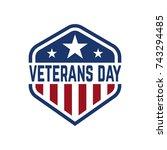 happy veterans day emblem... | Shutterstock .eps vector #743294485