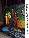 Small photo of Bangkok, Thailand - October 27, 2017: Human Size Thor Model of Movie Thor: Ragnarok displays at the theater