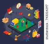 online shopping isometric... | Shutterstock . vector #743314297