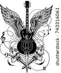 electric guitar  | Shutterstock . vector #743316061