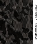 black and white camouflaged... | Shutterstock . vector #743318869