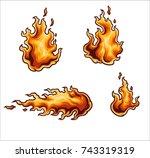 vector illustration of flames | Shutterstock .eps vector #743319319