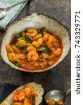 mediterranean prawn stew with... | Shutterstock . vector #743329771