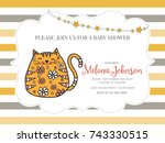 baby shower card template with... | Shutterstock .eps vector #743330515