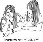 vector art drawing of young... | Shutterstock .eps vector #743332429