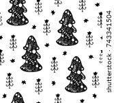 seamless christmas pattern.... | Shutterstock .eps vector #743341504