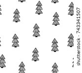 seamless christmas pattern.... | Shutterstock .eps vector #743341507