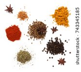 spices on a white background ... | Shutterstock . vector #743345185