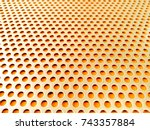 yellow gold perforated steel... | Shutterstock . vector #743357884