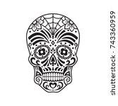 sugar skull. black tattoo.... | Shutterstock .eps vector #743360959