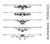 calligraphic design elements | Shutterstock .eps vector #743361121