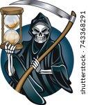 grim reaper holding hourglass...   Shutterstock .eps vector #743368291