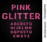 pink glitter alphabet fonts... | Shutterstock .eps vector #743368594