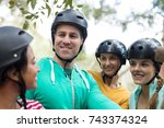 happy friends interacting with... | Shutterstock . vector #743374324
