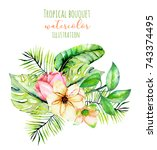 watercolor tropical palm leaves ... | Shutterstock . vector #743374495