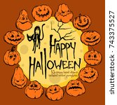 happy halloween vector... | Shutterstock .eps vector #743375527