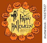 happy halloween vector... | Shutterstock .eps vector #743375527