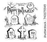 happy halloween. vector... | Shutterstock .eps vector #743375545