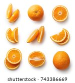 set of fresh whole and cut... | Shutterstock . vector #743386669